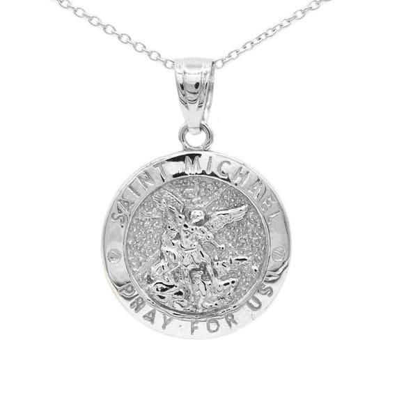 10k white gold saint michael medallion with gold chain st etsy image 0 aloadofball Choice Image