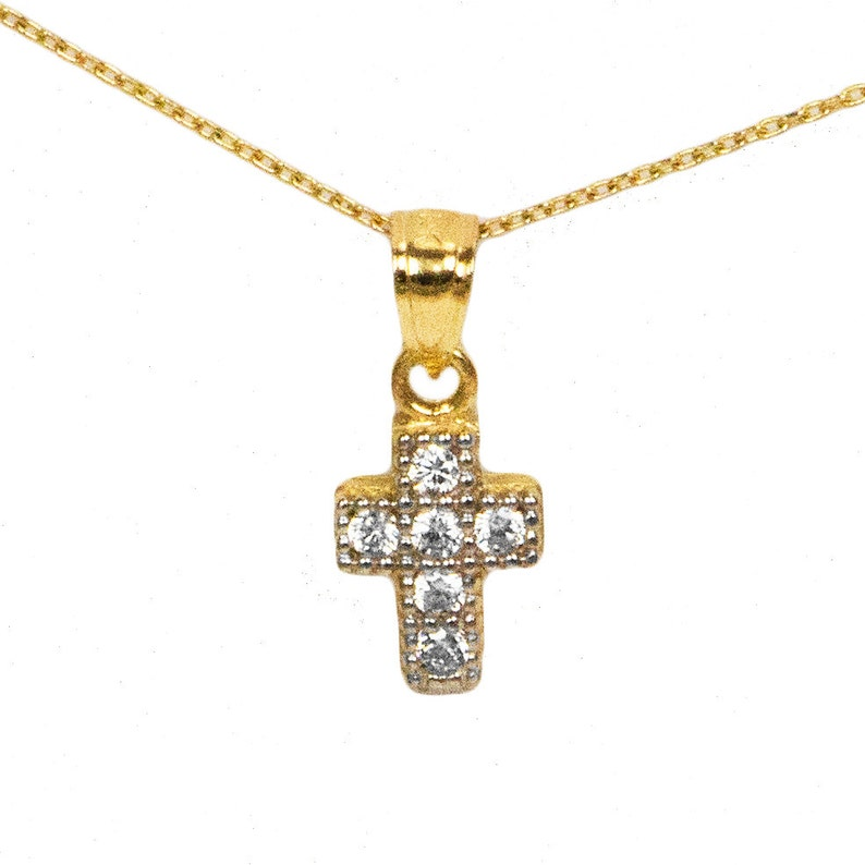 Ice on Fire Jewelry 14k Yellow Gold Cross Pendant Necklace