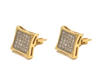 10k Yellow Gold Stud Earrings with Cubic Zirconia Stones, Stud Earrings for Men Micro Pave Earring Anniversary Gift for Men