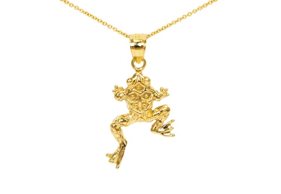 Jewels Obsession Frog Necklace 14K Yellow Gold-plated 925 Silver Frog Pendant with 16 Necklace