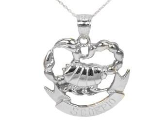 14k White Gold Scorpio Necklace