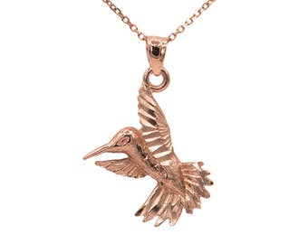 14k Rose Gold Hummingbird Necklace