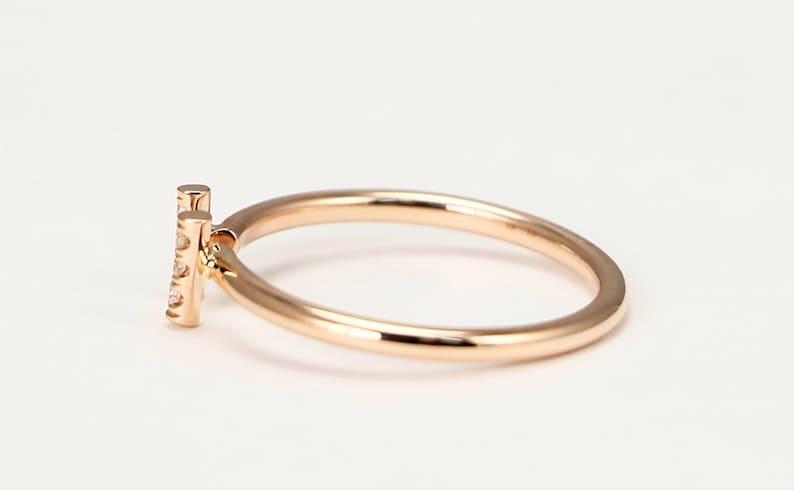 Diamond Bar Ring Rose Gold Stacking Ring with Diamonds 14k Rose Gold Diamond Engagement Ring Rose Gold Diamond Wedding Band Dainty Ring