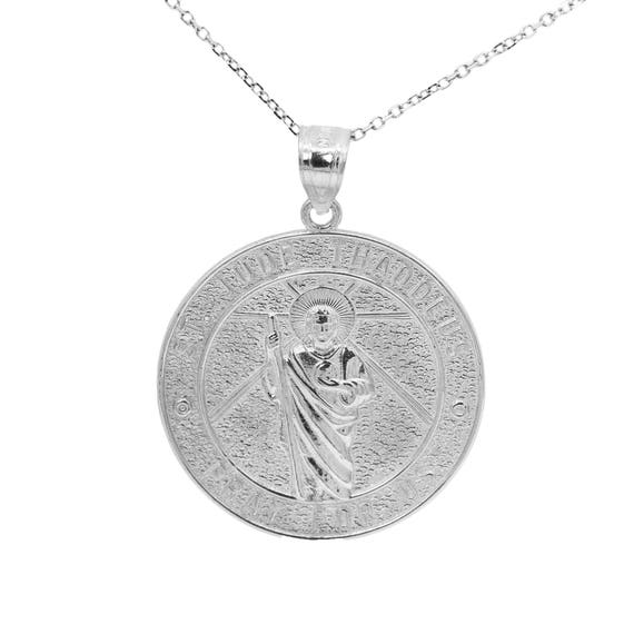 Ice on Fire Jewelry 10k White Gold Saint Jude Pray For Us Medallion Necklace