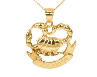 10k Yellow Gold Scorpio Necklace
