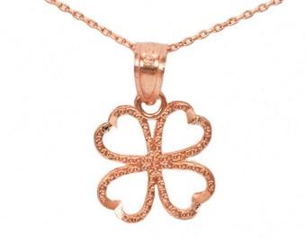 10k Rose Gold Four Leaf Clover Necklace