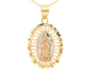 10k Real Solid Gold Guadalupe Necklace, La Virgen de Guadalupe Necklace Religious Jewelry, Christian Gifts Virgin Mary Necklace for Women