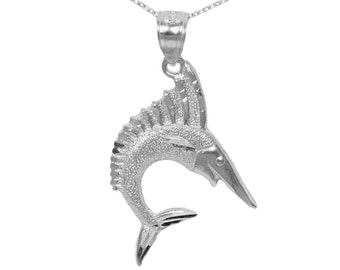 14k White Gold Marlin Necklace