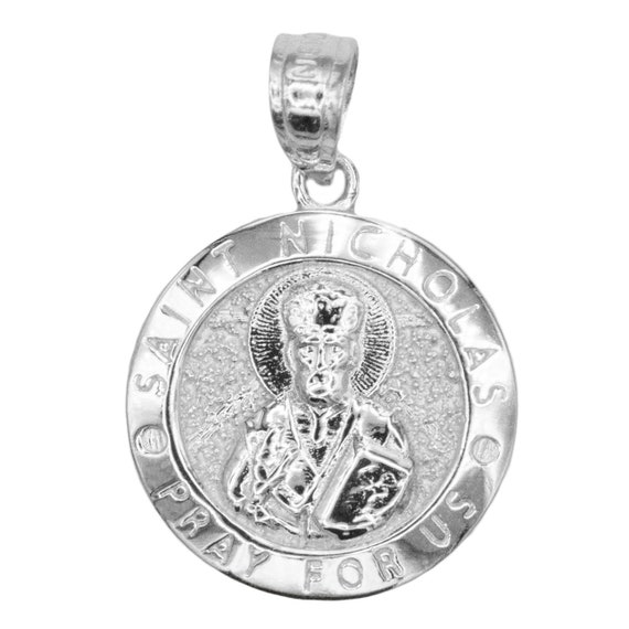 18-Inch Rhodium Plated Necklace with 4mm Amethyst Birthstone Beads and Sterling Silver Saint Basil the Great Charm.
