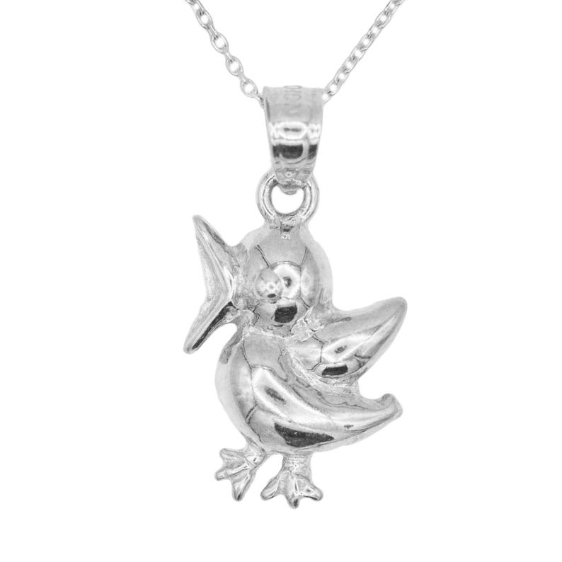 14k White Gold Necklace with Gold Chain; Gold Bird Necklace Casual Wear Fashion Jewelry Animal Gift Necklace Wildlife Jewelry