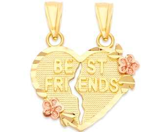 10k Gold Best Friends Heart Necklace, Gift for Friend Heart Pendant Friendship Jewelry for Women Bff Gifts for Birthday, Bestie Gift for Her