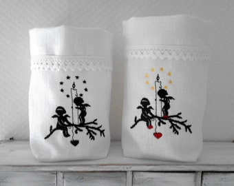 Christmas Light bag Angel Light angels with candle black or colored embroidered linen