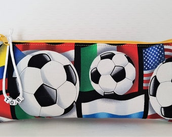 Stiftetäschchen Purse football cotton zipper.