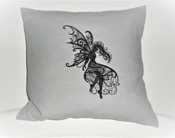 Pillowcase fairy fantasy 100% linen embroidered grey black