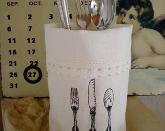 Mother's Day cutlery bag Vasenhusse Light pouch 100% linen embroidered