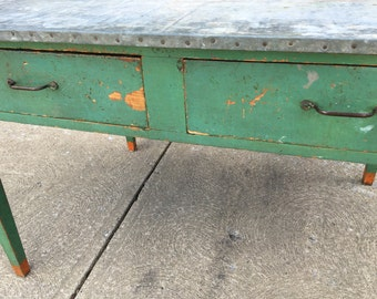 Vintage Metal Covered Table