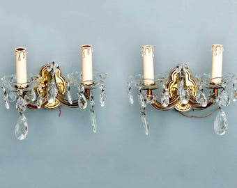 Mid Century Pair of Two Arm Maria Theresa Wall Sconces [6207]