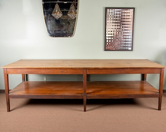 large 19th century french pine drapers table with original finish 8828