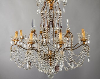 Crystal bobeche etsy italian 8 light crystal chandelier with giltwood bobeches 4391 aloadofball Choice Image