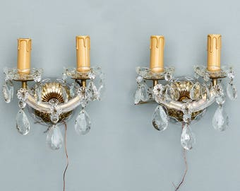 Pair Italian Maria Theresa Two Light Crystal Sconces [6208]