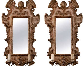 Pair 19th Century Italian Sconces With Carved Mirror and Gilt Gesso Frames [3192]