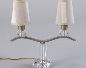 Pair of Jacques Adnet Two Light Girandole Modernist Lamps [4382]