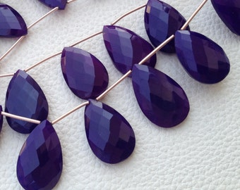 Brand New 6 Inches Strand Rare Amethyst Purple Chalcedony Faceted DROPS Briolettes,9-12mm Long size,GORGEOUS.