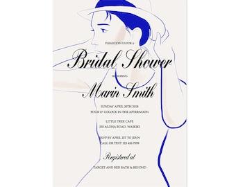 fashion illustration bridal shower invitation modern bridal shower invitation unique bridal shower elegant wedding printable