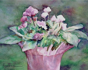 7x10 Small Original Watercolor, Lavender Violet Plant