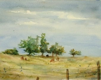 "Country Pasture with Cows and Trees-Original Watercolor Summer Landscape Painting-7""x10"" Small Wall Hanging"