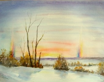 Winter Sunset with Sun Dogs, 11x15 Medium ORIGINAL Watercolor
