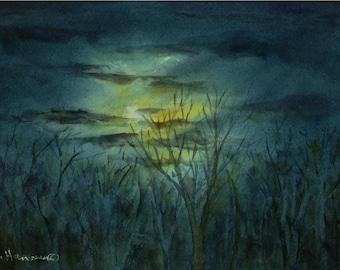 Winter Night Sky with Moon, 7x10 Small ORIGINAL Watercolor
