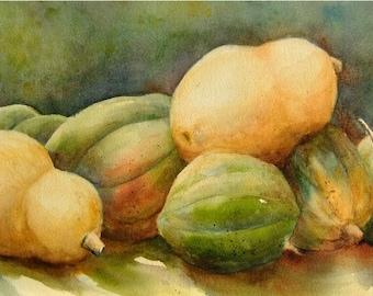 Garden Squash Painting, 10x22 Long ORIGINAL Watercolor