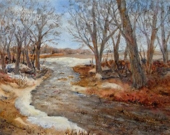 11X15 Original Watercolor, Early Spring Landscape