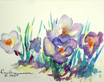 """Purple Crocus Spring Floral-Plein Air ORIGINAL Watercolor 4""""x6"""" Flower Painting with 8""""x10"""" White/Green Double Mat-Small Wall Hanging"""