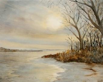 Original Winter Lake Watercolor, 11x15 Medium Landscape