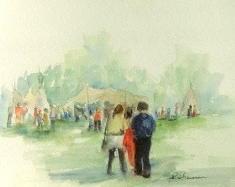 Western Fort Festival, 7x10 Small ORIGINAL Watercolor