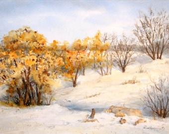 Original Winter Watercolor, 11x15 Medium Landscape
