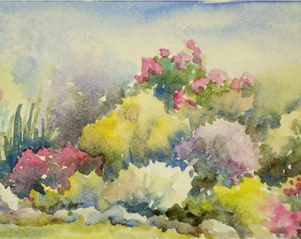 Fall Flower Garden Mums, 5x11 Small ORIGINAL Long Watercolor