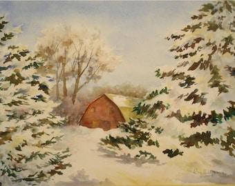 Red Barn in Winter, 11x15 Medium ORIGINAL Watercolor