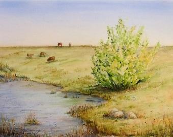 Spring Pasture Landscape, 11x15 Medium Original Watercolor