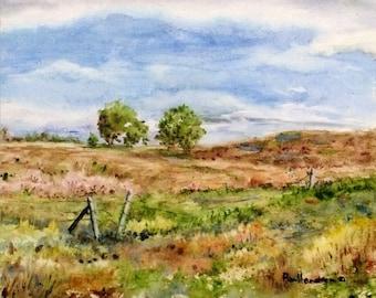 Summer Prairie, 8X10 Small Original Varnished Watercolor