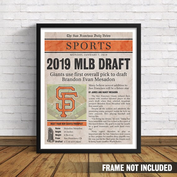 Custom Giants Birth Announcement Art Print // Newborn Sports Page with  Birth Stats // Perfect Gift for San Francisco Baseball Fans