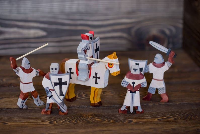 Wooden Toy Cavalier Waldorf Wood Knights Set Of 5 Crusader Warriors Handmade Painted Soldiers Castle Toy