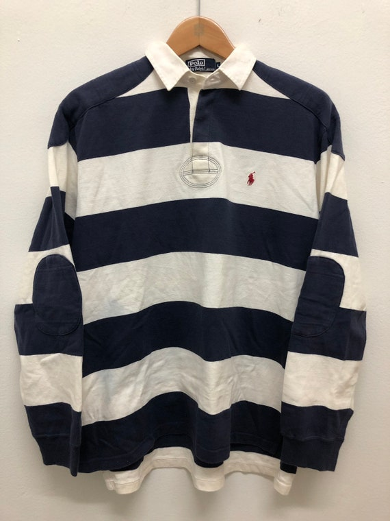 bd6cf90fe1a5 Polo Ralph Lauren Long Sleeve Block Stripes Rugby Vintage | Etsy