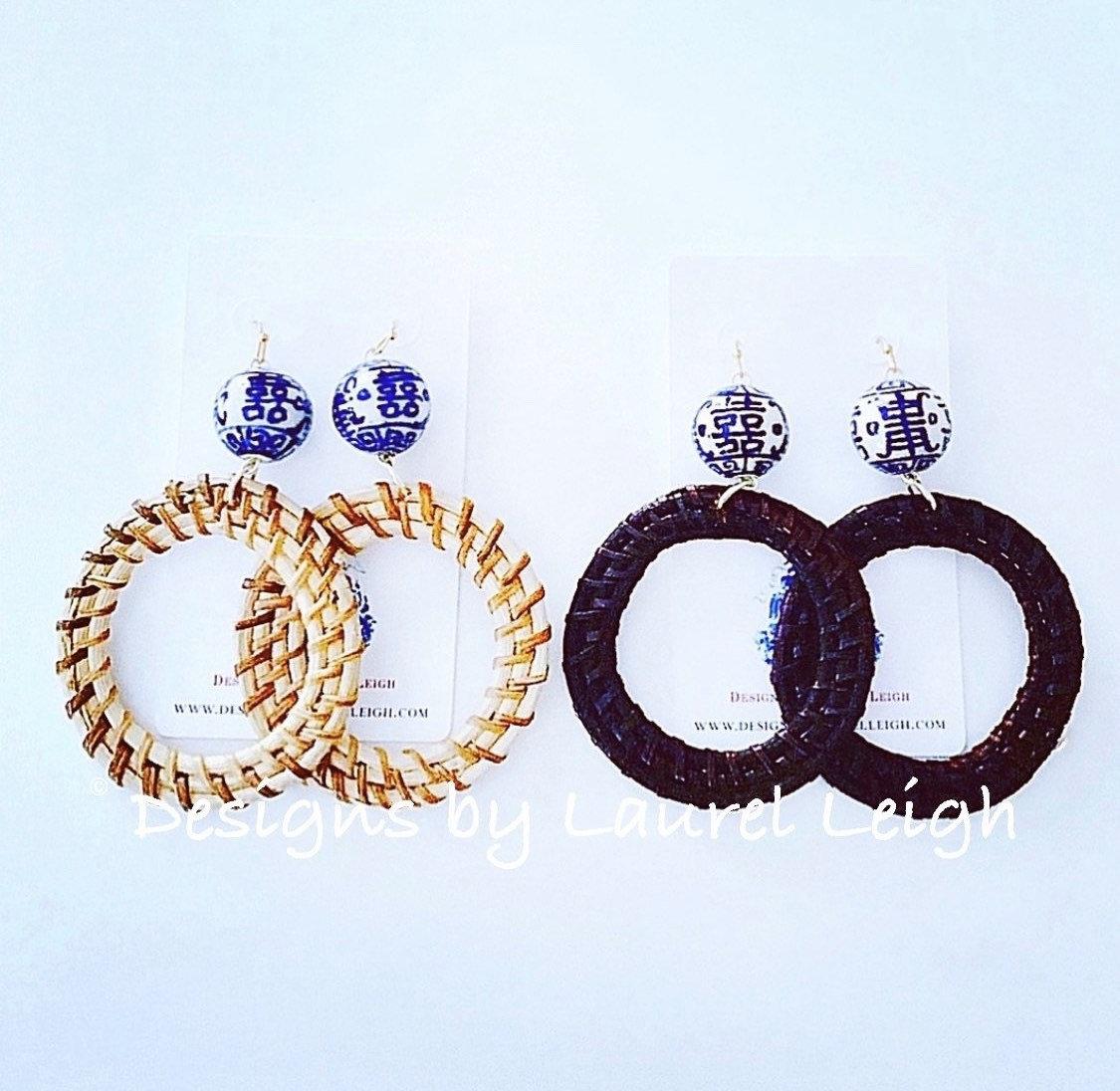 Lightweight Earrings Hand Painted Earrings Chinoiserie Earrings Pagoda Earrings Blue Earrings Statement Earrings