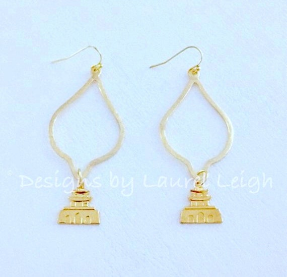 Gold Pagoda Earrings Chinoiserie Lightweight Dangle Drop Designs By Laurel Leigh