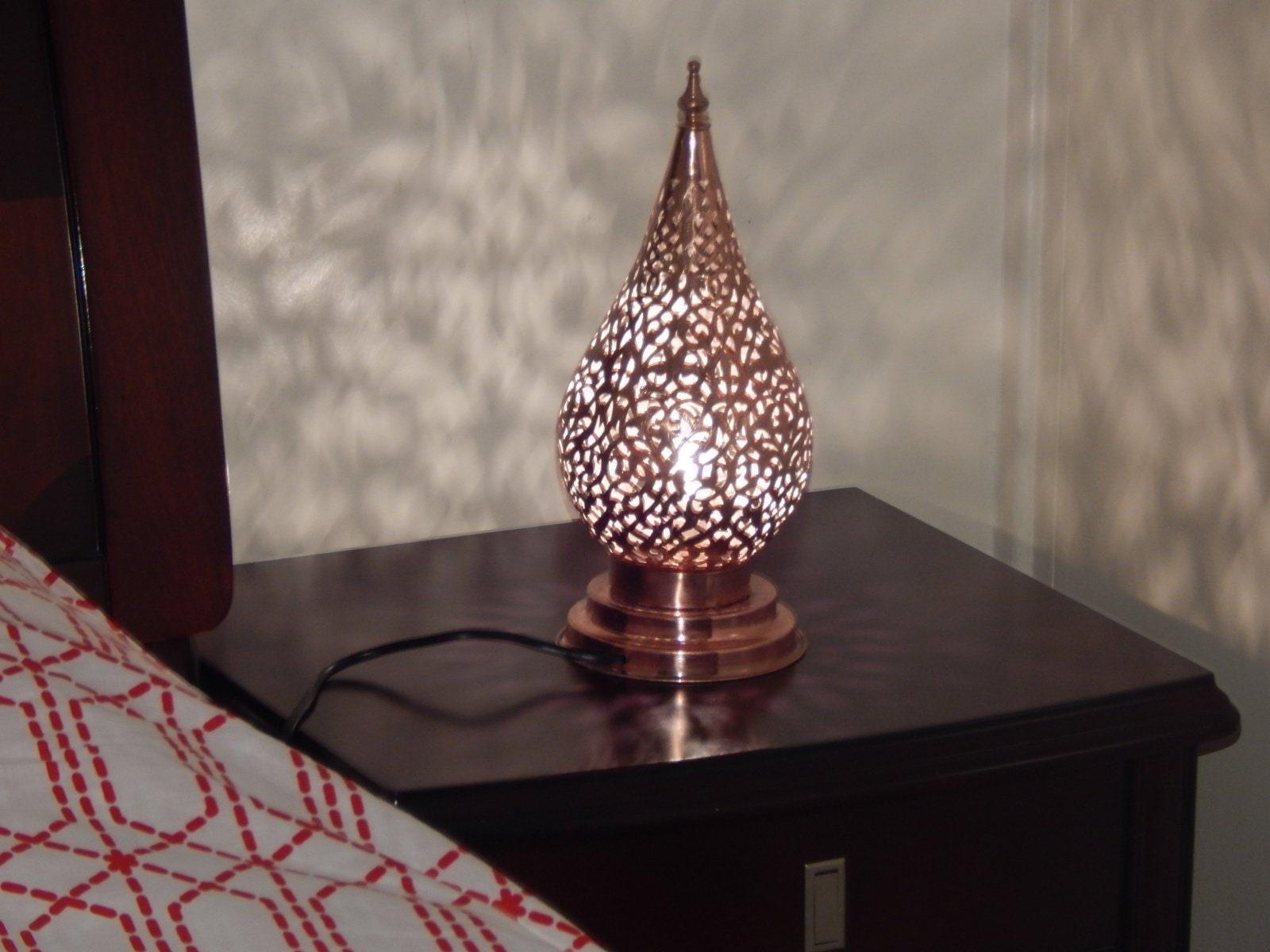 Moroccan Bedside Lamp Copper Lampshade Bohemian Home Decor ...