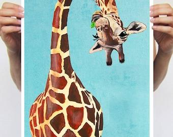 Fantasy Giraffe Painting, Giraffe print from my original painting, giraffe decor, upside down Giraffe, original creation by Coco de Paris