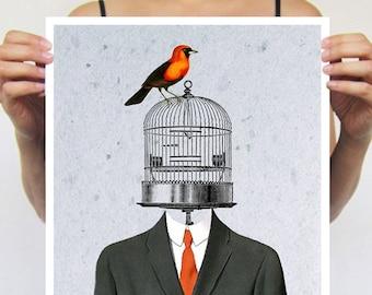 Surrealist Bird Print, Magritte Artwork, birdcage print, birdcage poster,  surrealist painting, original creation by Coco de Paris